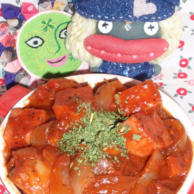 スパムのデミシチュー&白ネギと塩昆布のサラダ(お家カフェ)