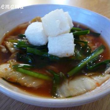 揚げもち入りキムチスープと鱈のからあげ☆