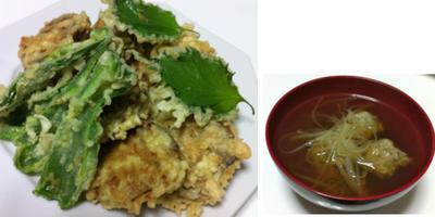 レンコンのはさみ揚げ、鶏つみれスープ、白菜と豚肉蒸し