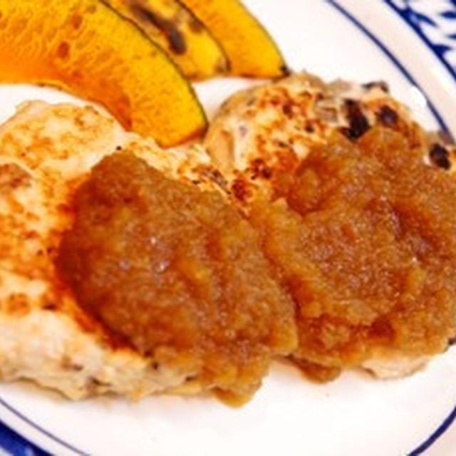 北海道の味覚の競演、秋鮭の豆腐バーグをアップルソースで、は銀シャリが進みます。。。