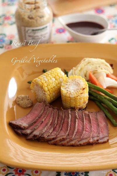 ローストビーフと野菜のグリル
