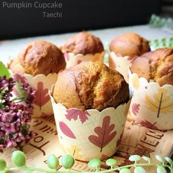 簡単レシピ混ぜて焼くだけかぼちゃのカップケーキ
