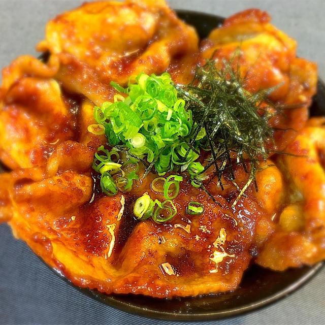 はみ出す!豚ロース肉の生姜焼き丼