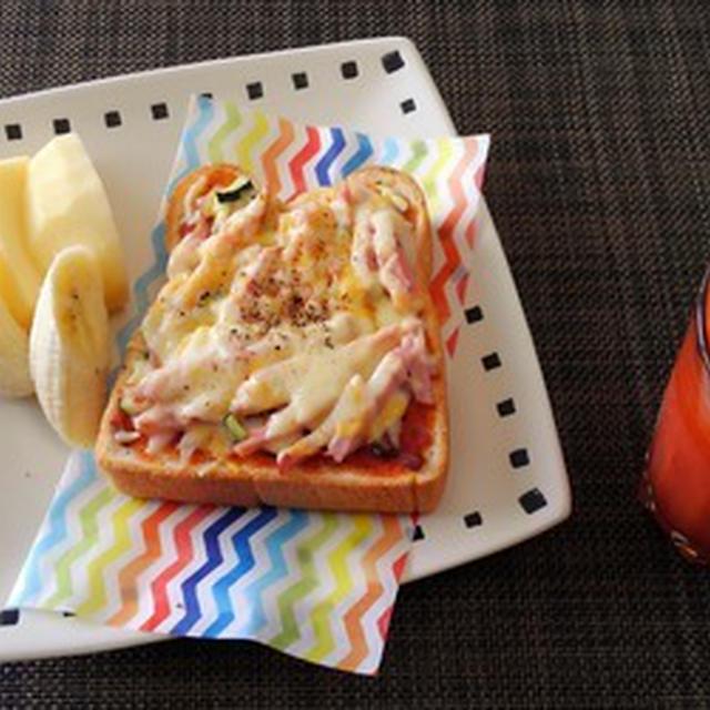 夏日やったのね☆ハムとズッキーニのピザトースト♪☆♪☆♪