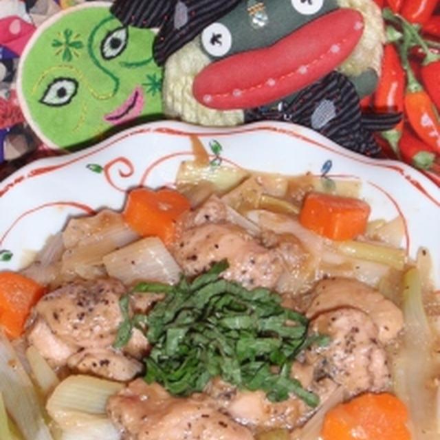鶏肉の梅干し煮&茗荷と茄子の和風サラダ(お家カフェ)