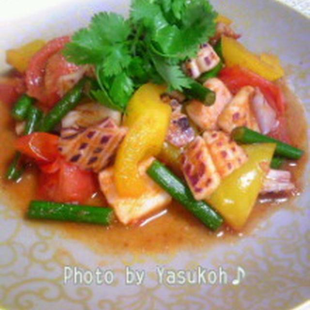 いよいよロンドンオリンピック開幕!☆エスニック料理☆イカといろどり野菜のタイ風炒め☆