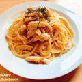 【レシピ】なめ茸とサラチキのバター醤油パスタ