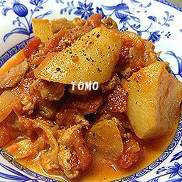 GABANブラックペパー  de  大根と豚肉のトマト煮~味付けはお味噌だけ~