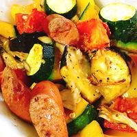 夏野菜とソーセージのオーブン焼き