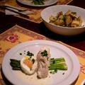 鱈のクリーム蒸し煮卵のっけ & ハーブローストスイートポテト