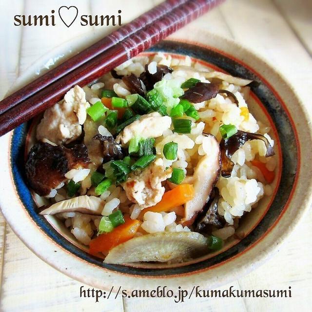 中華風♡生姜たっぷり♡鶏ごぼう炊き込みご飯