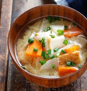 厚揚げと大根とにんじんの味噌スープ【#簡単 #節約 #時短 #冷凍保存 #冷蔵保存 #スープ #味噌汁】