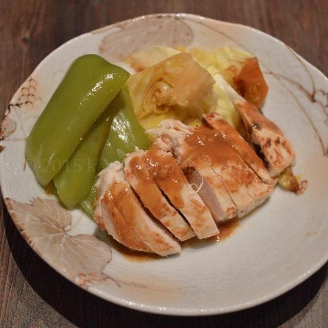 【柔らか鶏胸肉の蒸し焼き 味噌ソース】胸肉は 一手間かけて しっとりと