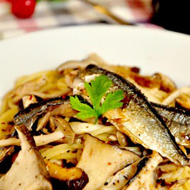 秋刀魚と3種のきのこの和風パスタ