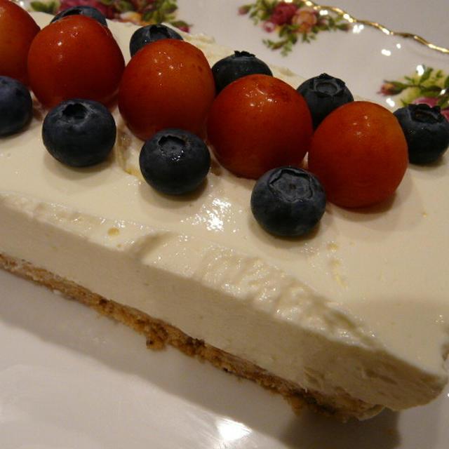 ブルーベリー&さくらんぼのレアチーズケーキ