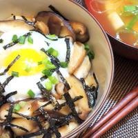 牡蠣だし醤油としいたけの旨味を合わせた☆温卵かけご飯♪