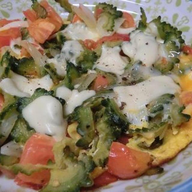 とろ~りチーズをのせて♪ 炒め野菜のずぼらオープンオムレツ