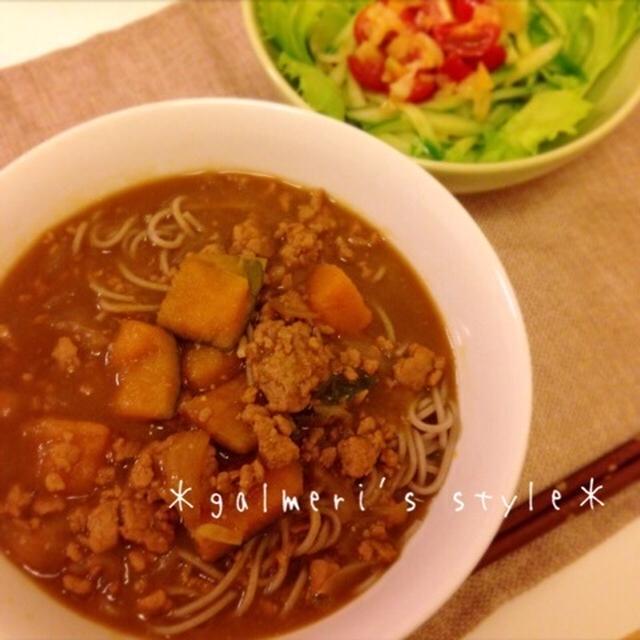 かぼちゃと豚ひき肉の和風カレー♪写真は二日目のカレー蕎麦