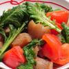 わさび菜とトマトのぷりぷるガーリックペパー風味