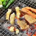 『お刺身のおろしニンニク醤油つけ』の炭火焼