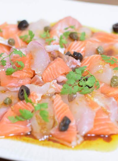 おもてなしに簡単☆鯛とサーモンのカルパッチョ/GW