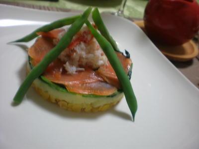温野菜とスモークサーモンのサラダ