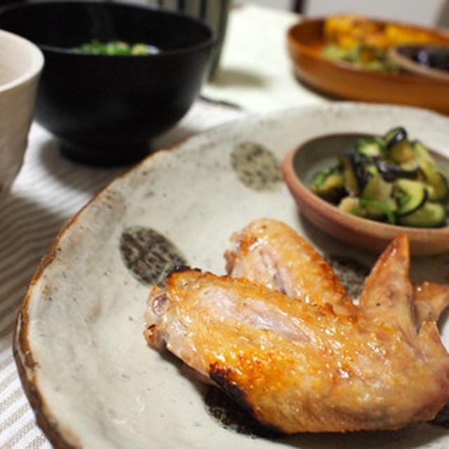 手羽先のパリッと塩焼きと夏野菜簡単メニューと生姜ご飯