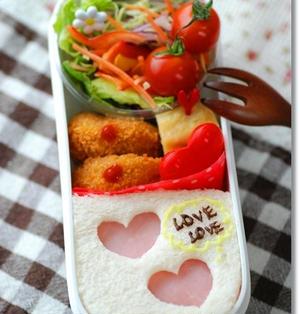 簡単ハートのサンドイッチのおべんとう