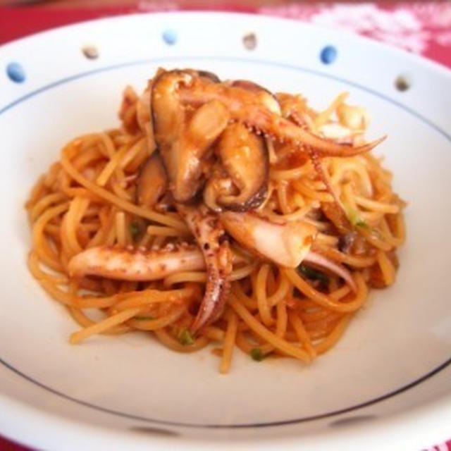 177.イカと白菜のコチュジャンマヨパスタ