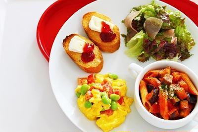 【おうちカフェレシピ♡】なすとベーコンのペンネアラビアータのワンプレートのレシピ♡
