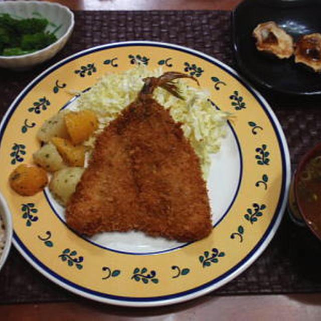 【献立】アジフライ、じゃがいもと人参のバジルバター和え、焼き椎茸、菜の花辛し和え、納豆汁