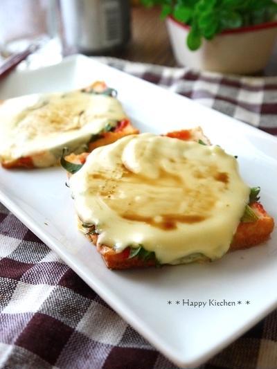 厚揚げと大葉チーズのこんがりピザ風