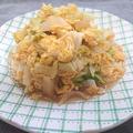 新玉ねぎと春キャベツと卵の味噌マヨ炒め