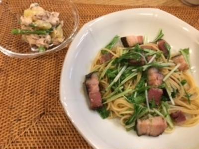 水菜とベーコンのパスタ