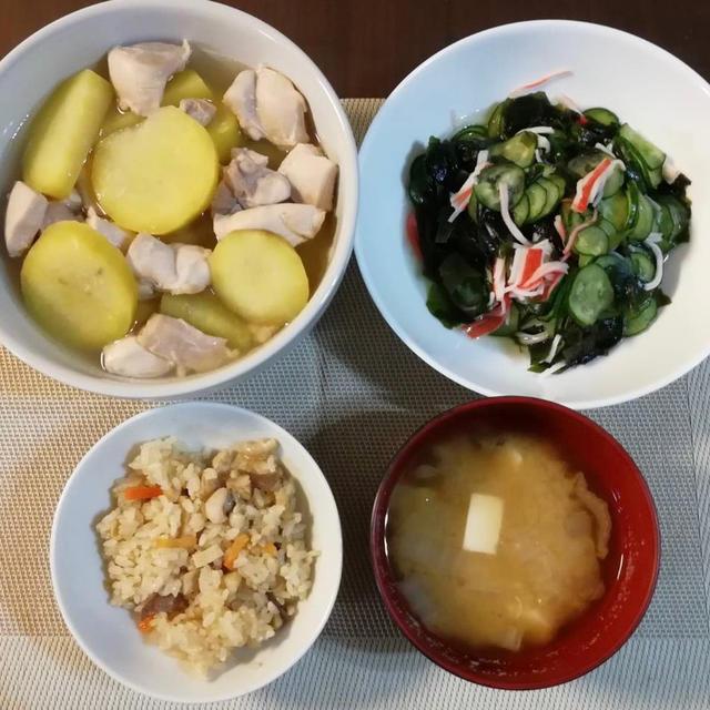 鶏もも肉とさつま芋のうま煮♪ カニ酢♪