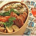 #007.鶏むね肉塩麹カツと人参チヂミの曲げわっぱ夫弁当。