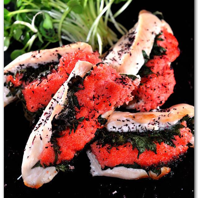メシ通『魚介を使った簡単レシピ』☆ 鶏ささみの大葉明太はさみ焼き