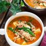 豆腐とひき肉のうま辛♡スタミナ味噌スープ【#簡単 #節約 #時短 #包丁不要 #スープ #おかずスープ】
