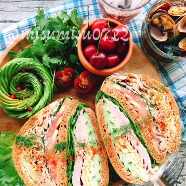 きな粉ブランパンで☆八丁味噌ヨーグルト豚しゃぶのハムぱくサンド  by Misuzu
