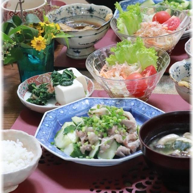 【レシピ】小間肉ときゅうりのネギ塩炒め。と 献立。と 夕方の梅仕事。