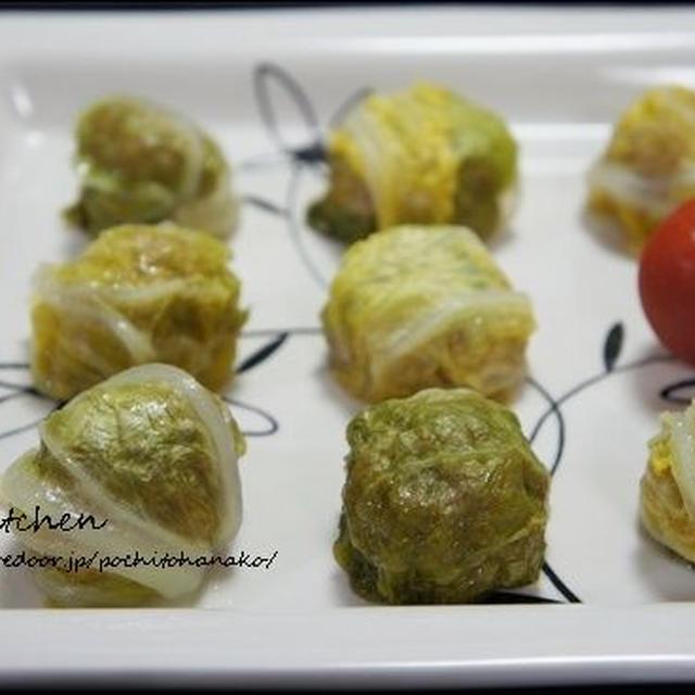 レンジで作る、白菜でくるんだシューマイのレシピ。