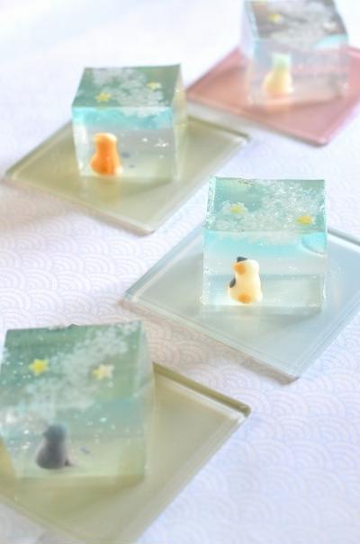 七夕の和菓子・天の川と猫の錦玉