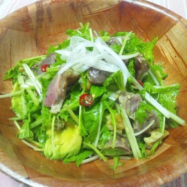 水菜と砂肝のサラダ
