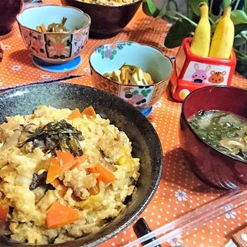我が家のイチオシ【ふわとろ他人丼】de 夕食 &  NEW弁当箱で!息子弁当~カツ丼弁~