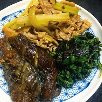 豚こまとセロリのクミン醤油炒め×春菊と焼き海苔のおひたし×茄子の煮浸し