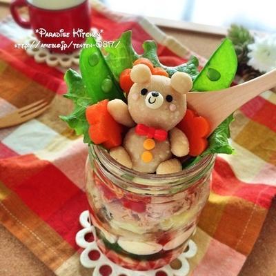 キャラご飯*ツナとトマトのマカロニデコジャーパスタ〜マッシュポテトくまちゃん添え〜