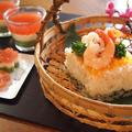 牛乳パックで変身♡ お雛祭りのひし形押し寿司。