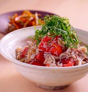 オリーブオイルで和えるだけ!しらすとトマトと大葉のサラダ