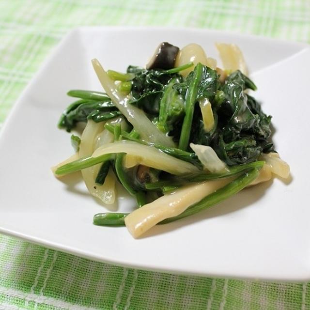 ほうれん草とエリンギと玉ねぎのカルボナーラソース炒め 調理時間5~15分