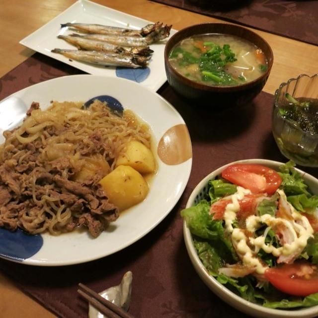 『我が家のど定番肉じゃが』の晩ご飯 と オキナセアの花♪